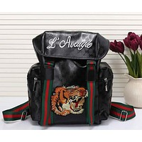 Perfect Gucci Women Men Tiger Embroidery Leather Shoulder Bag Travel Bag Backpack
