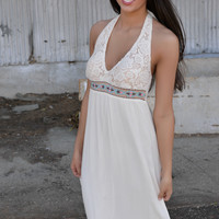 Bohemian Lace Halter Maxi Dress