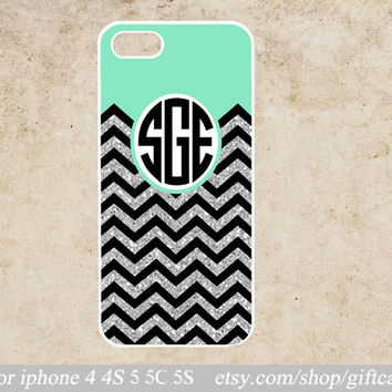 Glitter Personalized iphone 5c case,Monogram,Mint and glittery chevron iphone 5s case,iphone 5 case Geometry (NOT ACTUAL GLITTER)