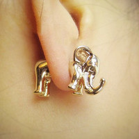 3D golden elephant earrings