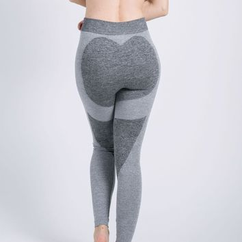 Light Grey Heat Print High Waisted Sports Yoga Workout Long Legging