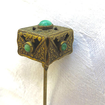 Antique Victorian Peking Glass Stick Pin Asian Brass Jade Hat Pin Dogwood Motif Antique Asian Jewelry
