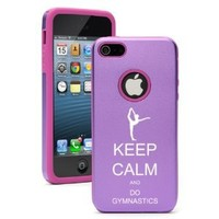 Apple iPhone 5 5S Purple 5D1131 Aluminum & Silicone Case Cover Keep Calm and Do Gymnastics