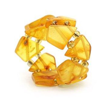 Genuine Natural Baltic Honey Amber Adjustable Stretch Ring for Women