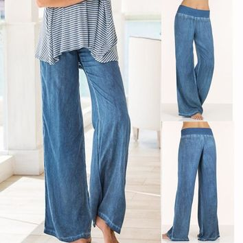 Women's Fashion Sexy Loose Long Pant Sexy Pure Color Linen Yoga Home Trousers