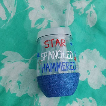 4th Of July Tumbler, Star Spangled Hammered Tumbler, Patriotic Tumbler, Independence Day, Glitter Tumbler