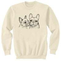 French Bulldogs Kiss Adult Sweatshirt Dog Art