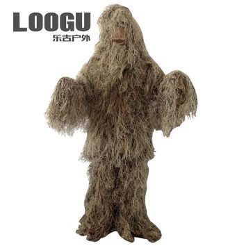 Snow Grass Woodland Hunting Outfit 3D Disguise Uniform CS Camouflage Suits Set Sniper Ghillie Suit Jungle Military Hunting Cloth