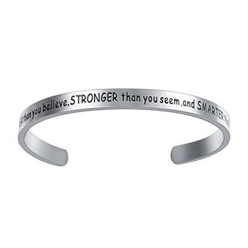 Feraco Cuff Bangle Graduation GiftYoure Braver Than You Believe Engraved Stainless Steel Custom Bracelet