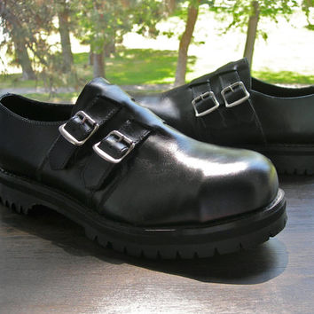Sale-Vintage Getta Grip Steel Toe Black Leather Oxfords - Made in England -- size 10 UK = size 11 US Mens = size 12 to 12.5 US Women