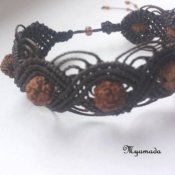 Chocolate winette  micro macrame bracelet whith rudraksha seeds  / free shipping