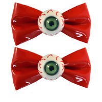 Kreepsville 666 eyeball hairbow slide red | Kreepsville 666