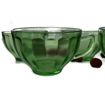 Vintage Federal Glass Co Cups Hostess Pattern Green Depression Glass 1930's Coffee or Tea Cups