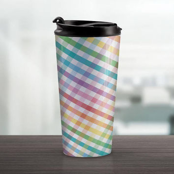 Rainbow Gingham Travel Mug - Mixed Colorful Pattern - 15oz Stainless Steel - Made to Order
