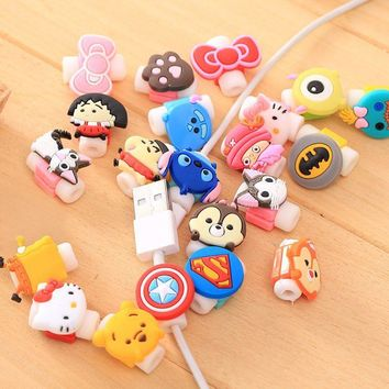 Cable Saver Cartoon Minions Silicone USB Charger Cable Wire Cord Protector For iPhone iPad Samsung cable Accessories 500pcs/lot
