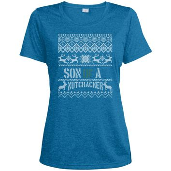 Son of a Nutcracker Shirt Ugly Christmas Elf no pic LST360 Sport-Tek Ladies' Heather Dri-Fit Moisture-Wicking T-Shirt