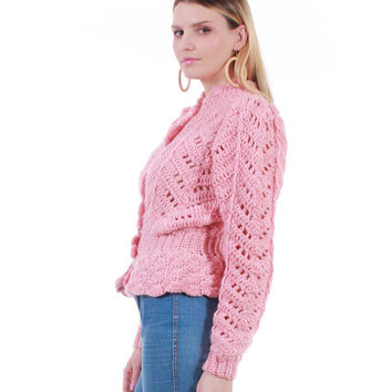 70s Vintage Pink Crochet Cardigan Sweater 1970's Boho Chic Clothing Womens Size Small Medium