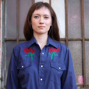 Vintage 70's 80's Rockabilly Hipster Country Western Rocker Embroidered Rose Pattern Snap Button Down Western Urban Cowboy Shirt (Small/Indie Brands)