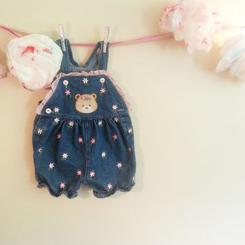 Denim Floral Baby Romper, children's vintage denim, gift for her, clothing for children, 12 months old, Teddy Bear Overalls, Vintage Baby