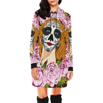Sugar Skull Short Mini Hoodie Dress