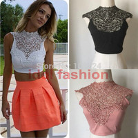 Summer 2015 Women Sexy Tank Top tee Backless Sleeveless Short Vest Hollow Out White Black Lace Crop Tops large size  01OJ