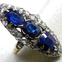 Engagement Ring Antique Cushion Cut 2.5 ct Sapphire Rose Cut Diamond Platinum 14K 1 Carat tdw Late Georgian Era Early Victorian Era Ring