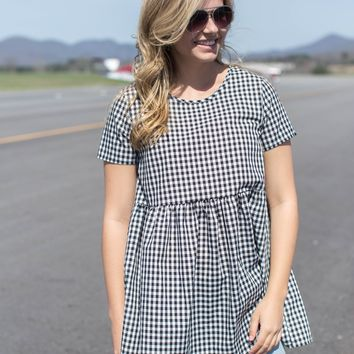 Old City Gingham Top, Black/White