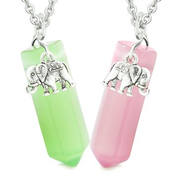 Lucky Elephant Love Couples or Best Friends Crystal Points Neon Green Pink Simulated Cats Eye Necklaces