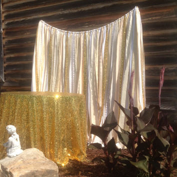 Gold Sequin Backdrop Ivory White Gold Lace Sequins Ribbon & Fabric Wedding Backdrop Rag Garland 6 ft long photobooth cake smash