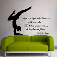 Wall Decals Girl Words Quote Yoga Is a Light Which Once Lit Gym Sport Decal Vinyl Sticker Interior Design Art Mural Kids Room Decor KG804