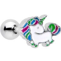 "16 Gauge 1/4"" Rad Rainbow Unicorn Cartilage Tragus Earring"