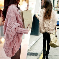 2015 fashion The new fall and winter clothes bat sleeve cardigan knitting needle loose shawl ladies thick coat .women sweater = 1945950596