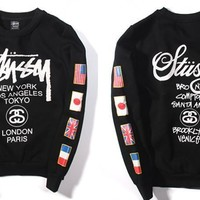 Stussy Fashion Casual Male Female Loose Cotton Flag Letter Print Round Neck Long Sleeve Couple T-shirt Plus Cashmere Sweater