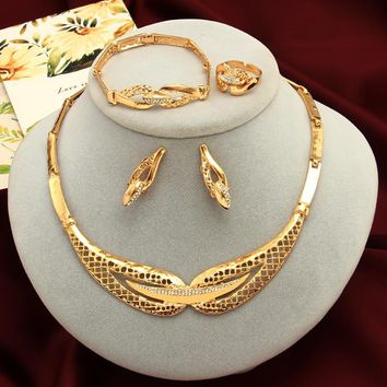 ZOSHI Dubai Gold Jewelry Sets African Beads Statement Necklace Earrings Bracelet Ring Sets Women Ladies Wedding Accessories