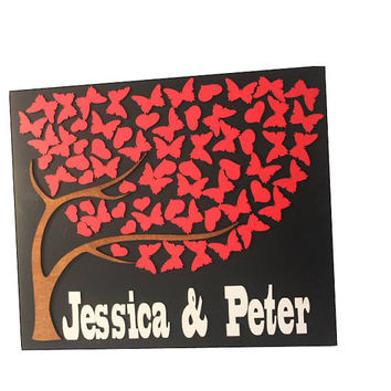 Fast Shipping 3D Wedding Guest book Alternative red butterfly heart wedding Unique Guestbook wedding puzzle Rustic Wedding guestbook