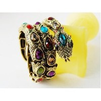 Multi Color Rainbow Jewel Gem Crystal Rhinestone Snake Wrap Bracelet Bangle Cuff
