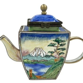 Mt Mount Fuji Japanese by Hokusai Miniature Porcelain Teapot