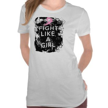 Breast Cancer Grunge Fight Like a Girl Tee Shirts from CancerApparel.Com