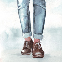 Original watercolor art of Denim clad legs in Oxfords Brown Leather shoes and polka dot socks Painting