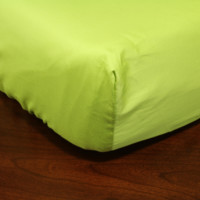 Solid Citron Green Crib Sheet in 100% Cotton Satin Finish