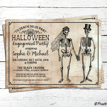 Halloween Engagement Invite // Personalized Til Death Do Us Part Halloween Engagement Party Invitation // Halloween Invite