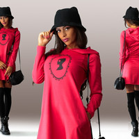 Red Long Sleeve Hooded Mini Dress