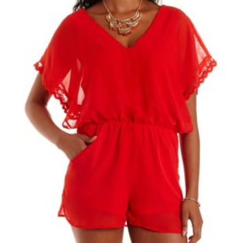 Poppy Red Scalloped Open-Side Chiffon Romper by Charlotte Russe