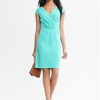 Pleated Crossover Dress | Banana Republic