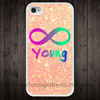 infinity iphone 4 case, Forever young iphone 4 case, sparkle iphone 4 case, iphone 4s case