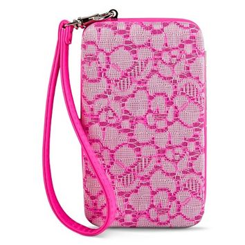 Women's Crochet Lace Cell Phone Case Wallet - Pink : Target