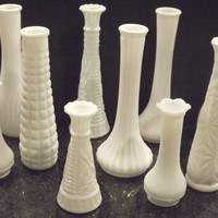 Collection of Milkglass Vases--Vintage--White--Budvase--Wedding