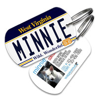 West Virginia License Plate Pet Tag - Personalized Pet ID Tags, Custom Dog Tags, Cat ID Tag, Dog Name Tags, Dog Tags for Dogs, Collar Tag