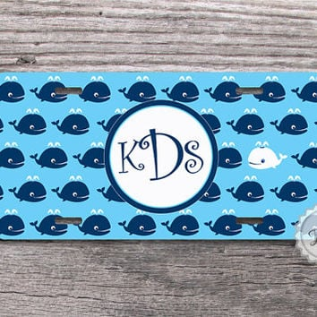 Cute blue whales with personalized monogram car tag license plate nautical style - 026