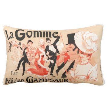 Vintage French poster art Throw Pillow